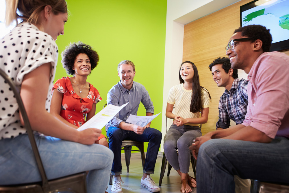 beginnings treatment about beginnings inage of happy people in group therapy